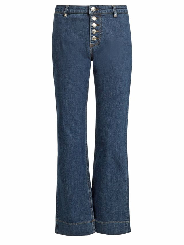 Exposed-button kick-flare cropped jeans