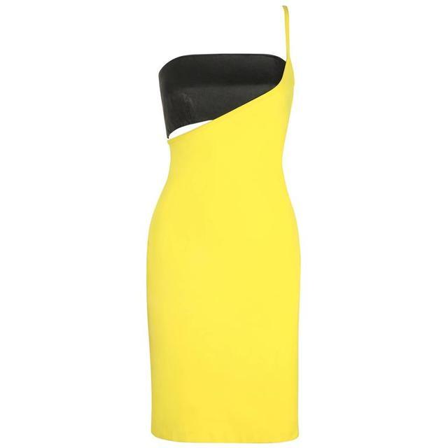 Versace Vintage Yellow Black One Shoulder Dress Leather Bandeau Set