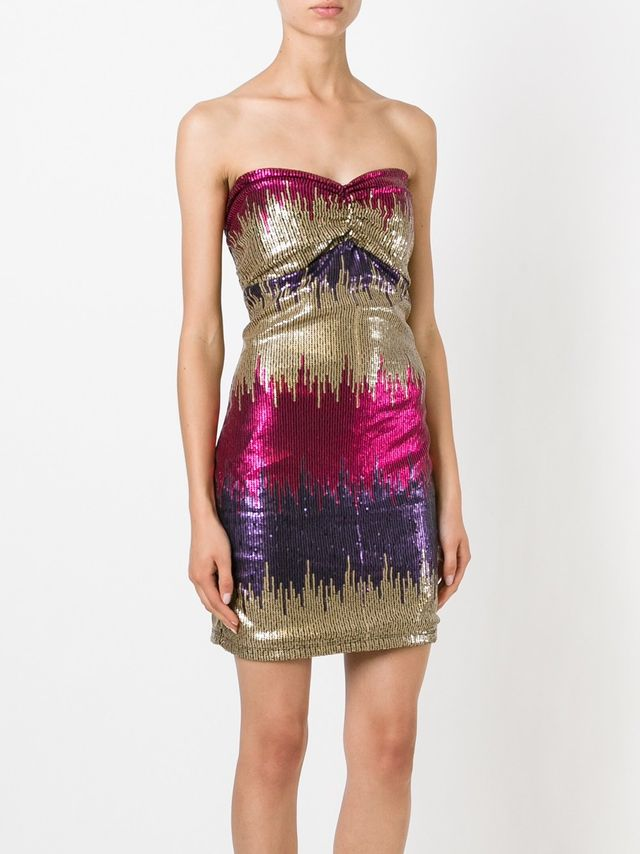 Versace Vintage Strapless Sequined Mini Dress