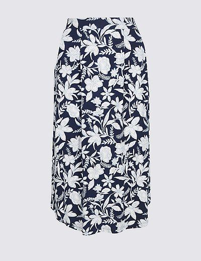 Marks & Spencer Floral Print Jersey A-Line Midi Skirt