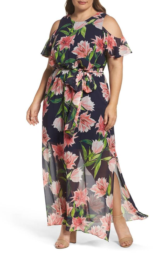 Eliza J Floral Chiffon Cold Shoulder Maxi Dress