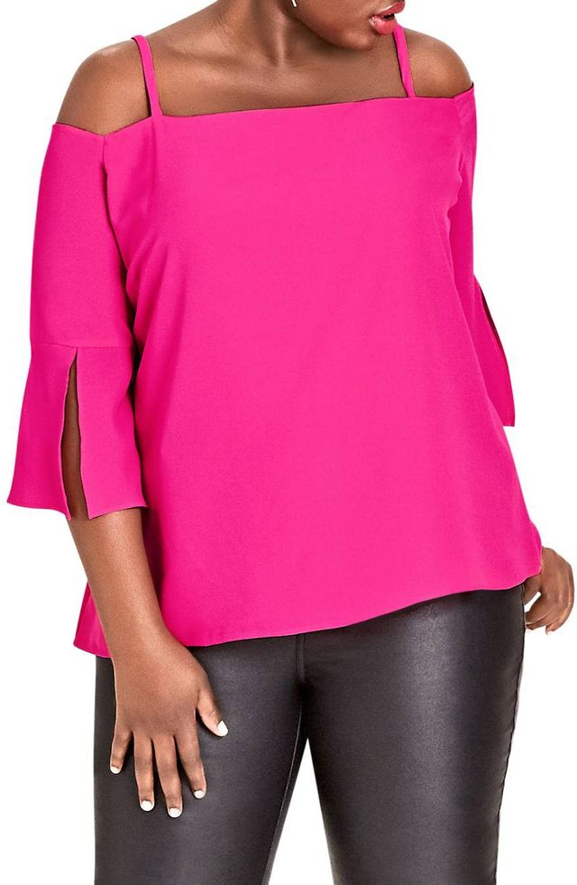 City Chic Split Sleeve Off the Shoulder Top