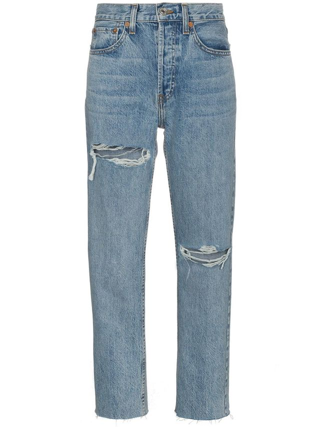 Stove Pipe 27 high waist straight ripped jeans