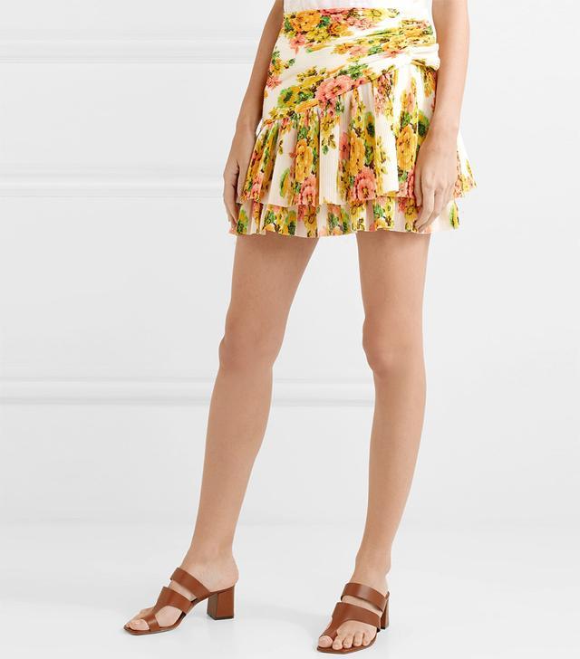 Golden Surfer Tiered Floral-print Plissé-chiffon Mini Skirt