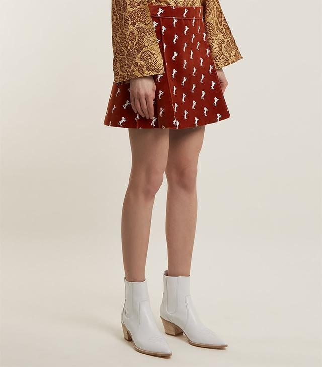 Horse-embroidered velvet mini skirt