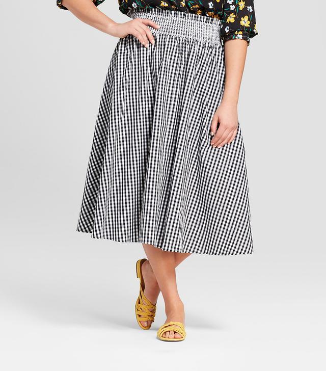 Plus Size Striped Smocked Waist Midi Skirt