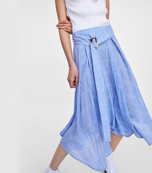 Zara Checkered Skirt With Belt