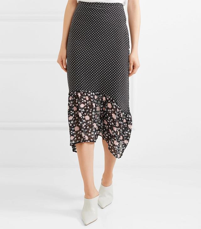 Leandra Polka-dot Silk-crepe Midi Skirt