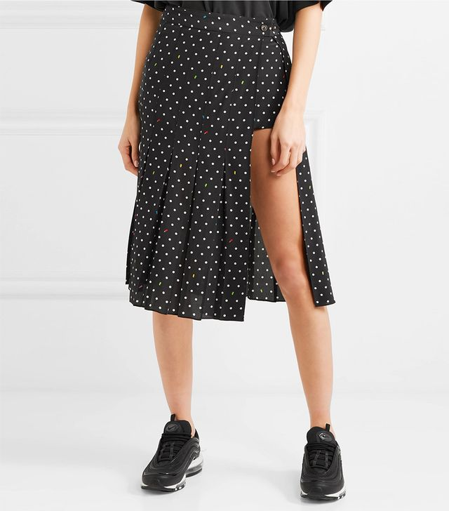 Uniform Cutout Polk-dot Silk-crepe Skirt