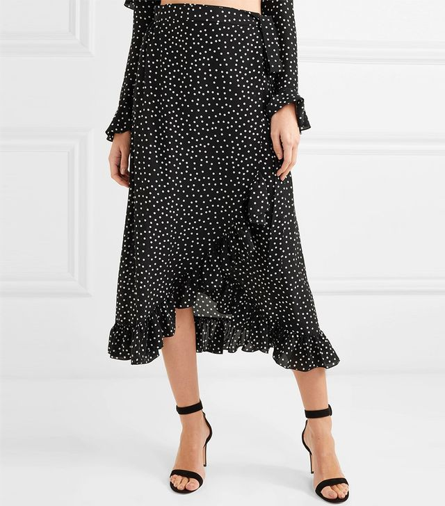 Lucy Ruffled Polka-dot Silk-chiffon Wrap Skirt