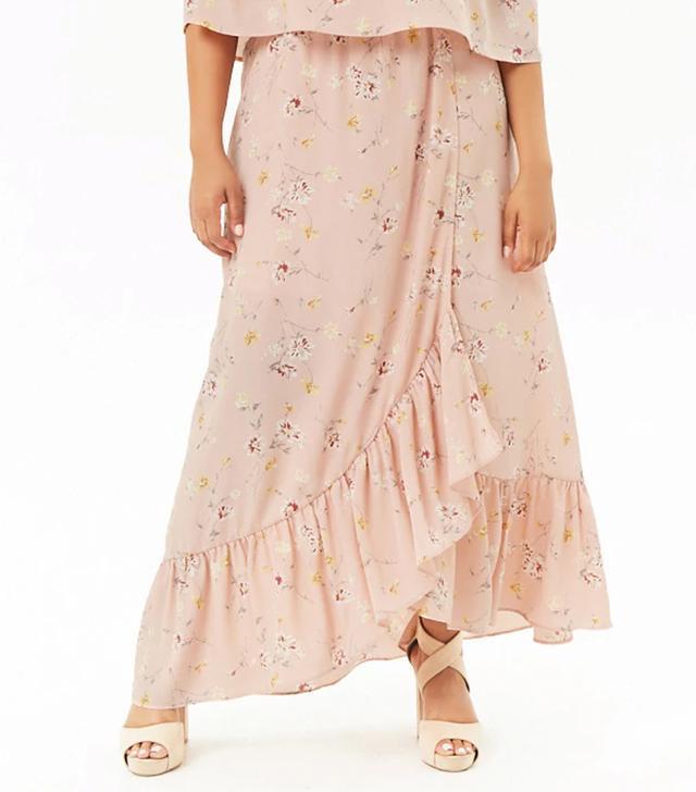 Forever 21 Floral Mock Wrap Maxi Skirt