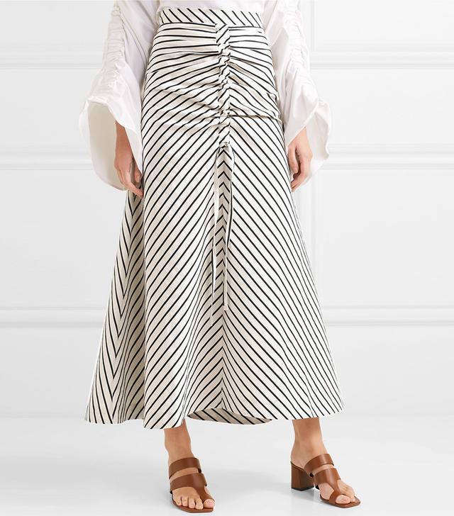 Saskia Striped Woven Maxi Skirt