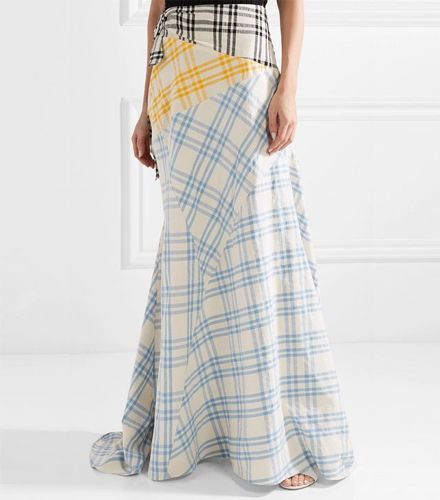Paneled Checked Cotton Maxi Skirt