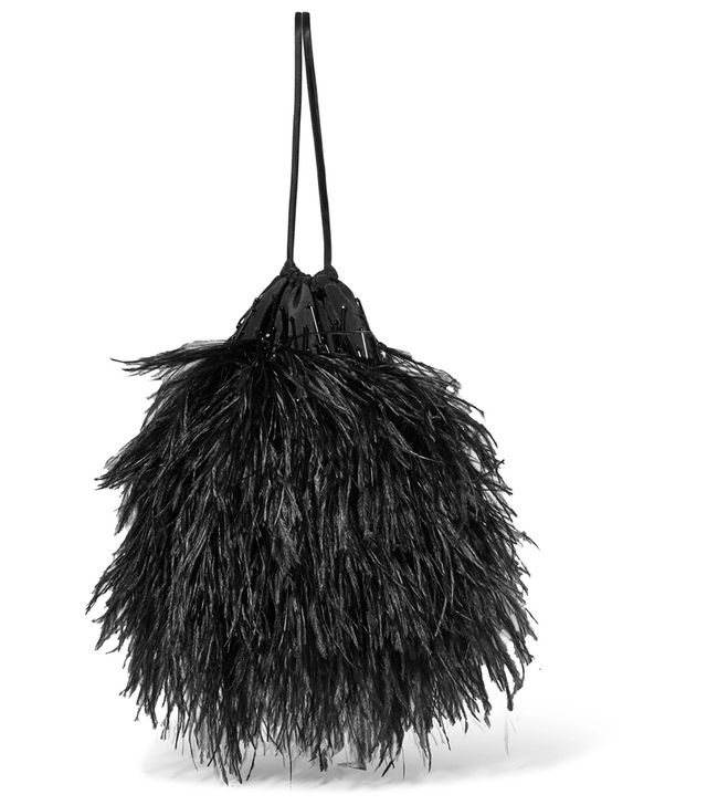 Feather-embellished Poplin Pouch