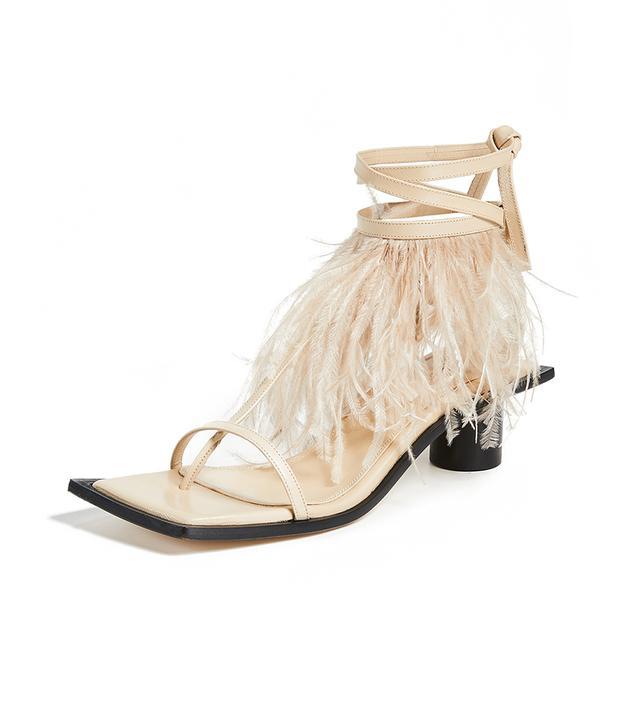 Gladiator Feather Mid Heel Sandal