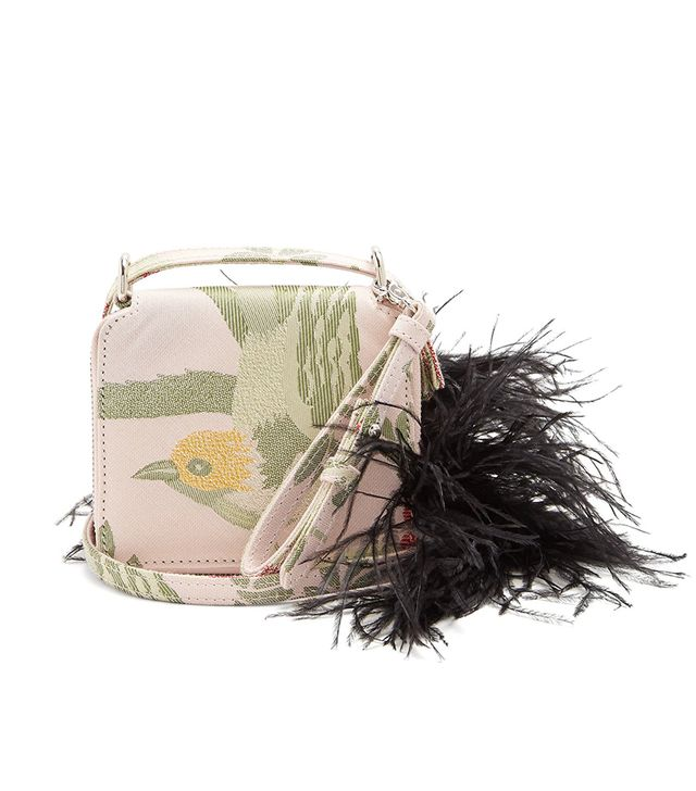 Feather strap bird-jacquard cross-body bag