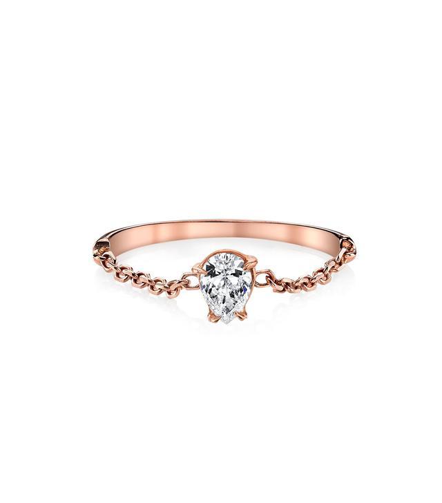 Anita Ko Pear Diamond Chain Ring