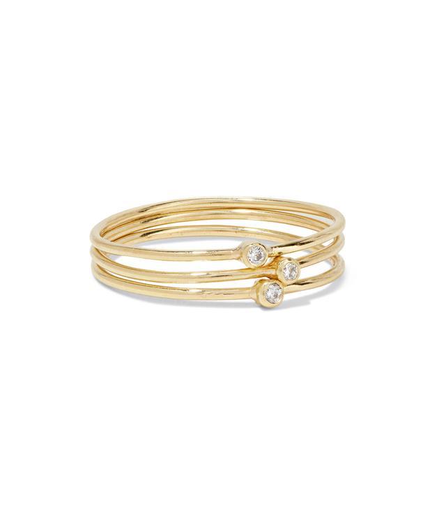 Set Of Three 18-karat Gold Diamond Rings