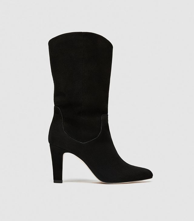 Zara Mid-Calf Leather Ankle Boots With Heels