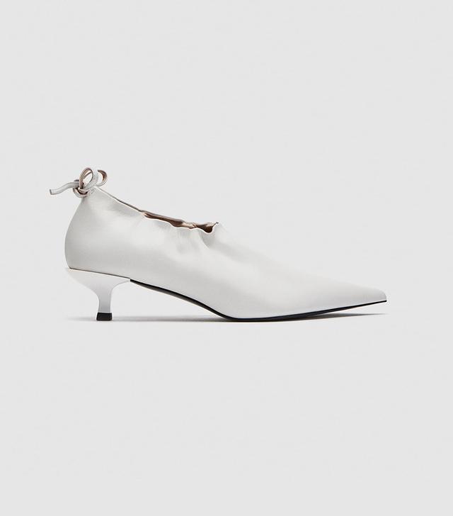 Zara Gathered Leather Salon Shoes