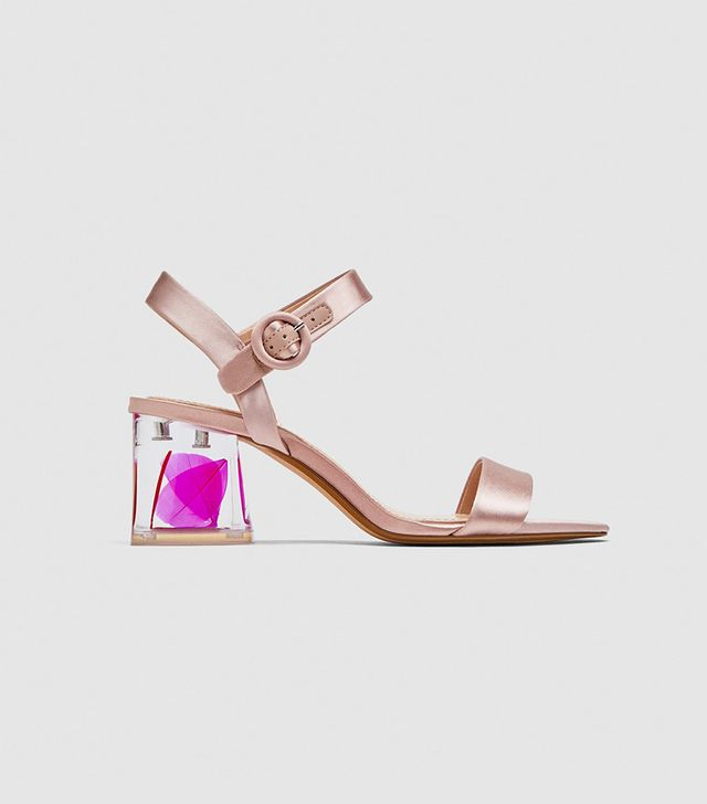 Zara Satin Sandals With Embellished Heels