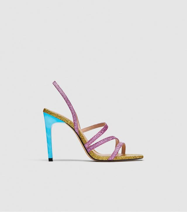 Zara Shiny Multi-Strap Sandals