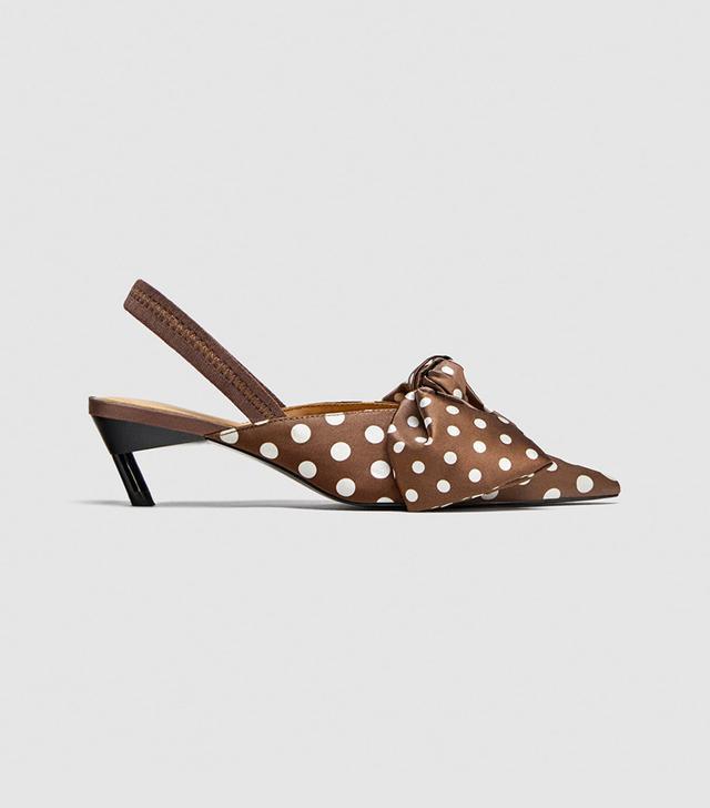 Zara Polka Dot Slingback Shoes