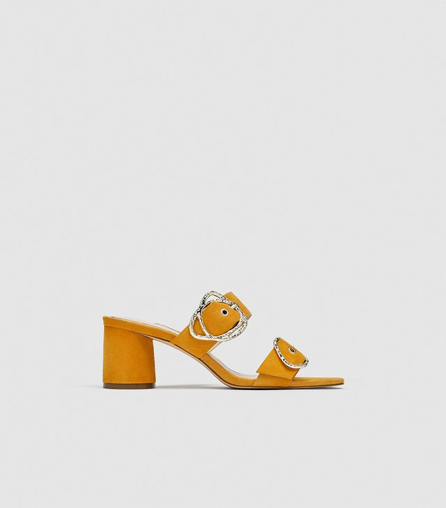 Zara Leather High-Heel Mules with Buckles