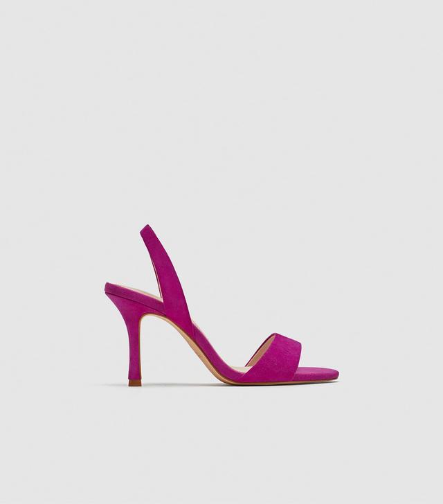 Zara Leather High-Heel Slingback Sandals
