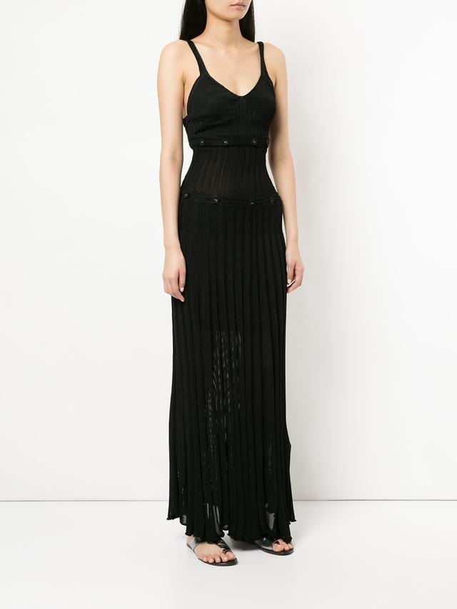 Christopher Esber Button Trim Ribbed Long Dress