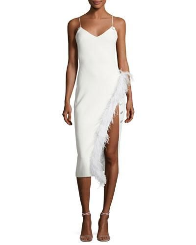 Feather-Trim Spaghetti-Strap Dress
