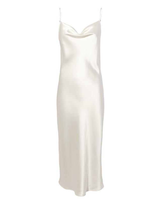 Fleur Du Mal Snow White Cowl Neck Slip Dress White L