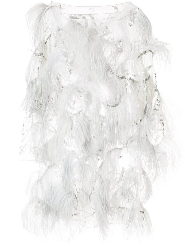 embellished semi-sheer mini dress
