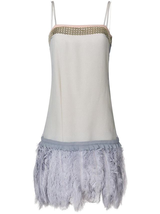 ostrich feather trim dress