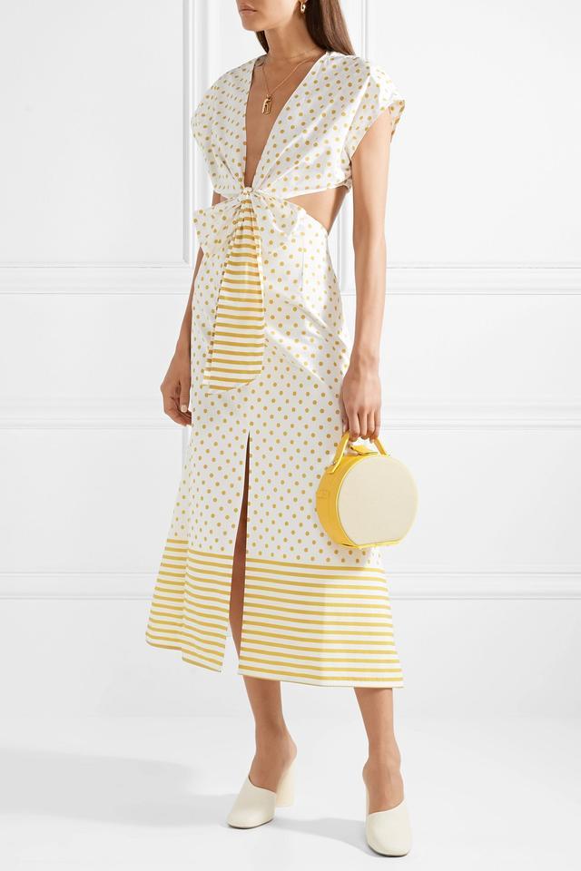 Termini Printed Cutout Cotton-poplin Midi Dress
