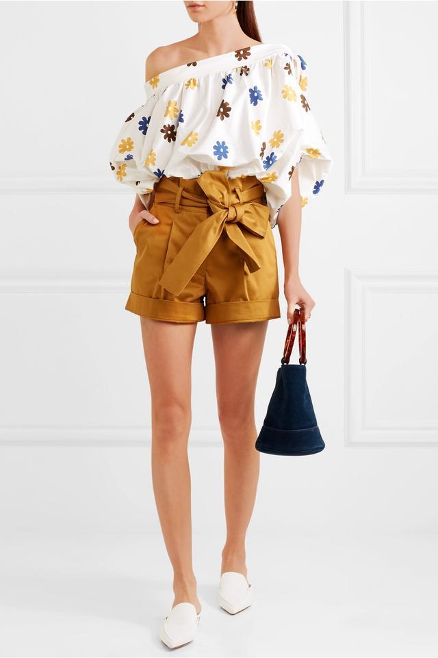 Klendin Off-the-shoulder Floral-print Stretch-cotton Top