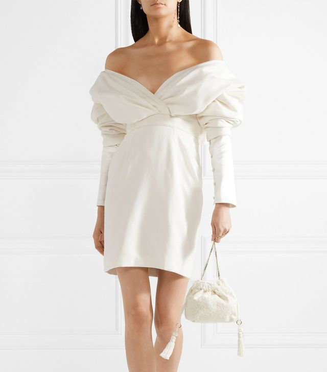 Off-the-shoulder Silk And Wool-blend Mini Dress