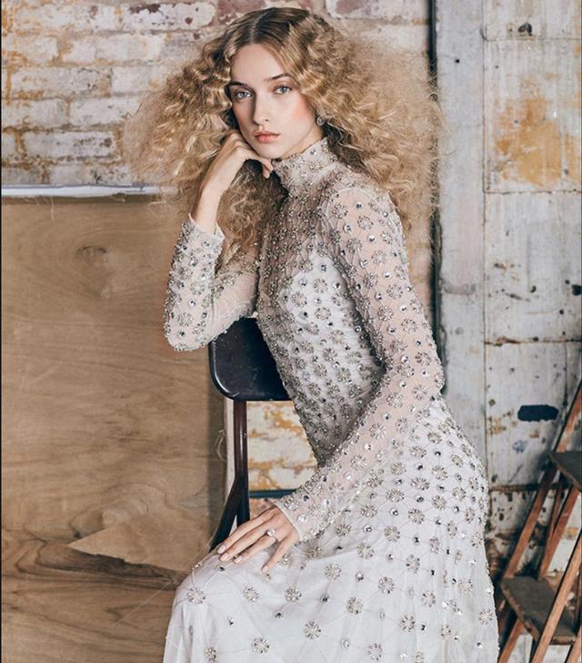 M'O Exclusive Long Crossbone Lattice Gown