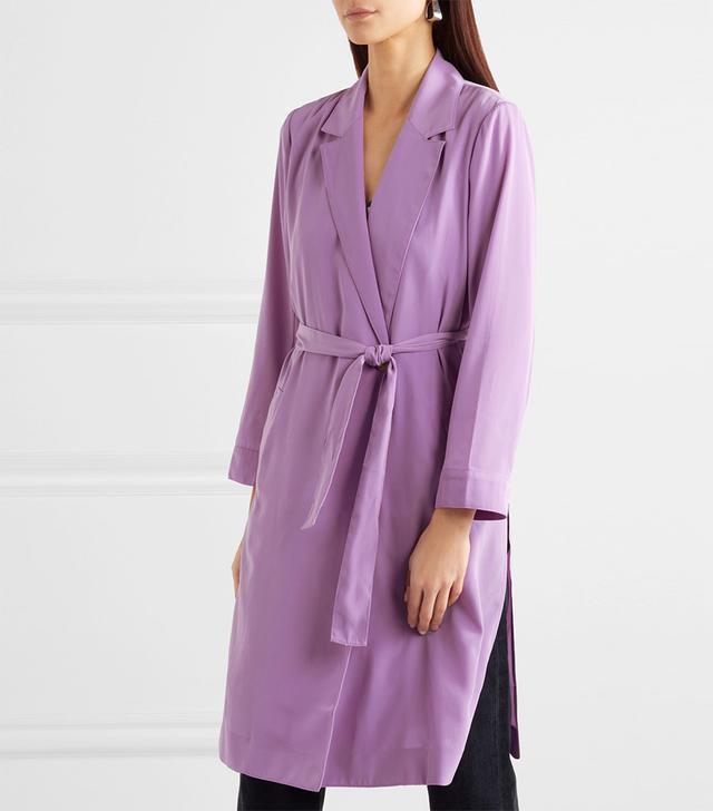 Belted Satin Coat