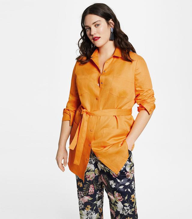 Violeta by Mango Pocket Linen-Blend Jacket