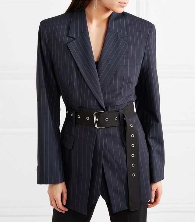 Oversized Belted Pinstriped Wool-blend Blazer