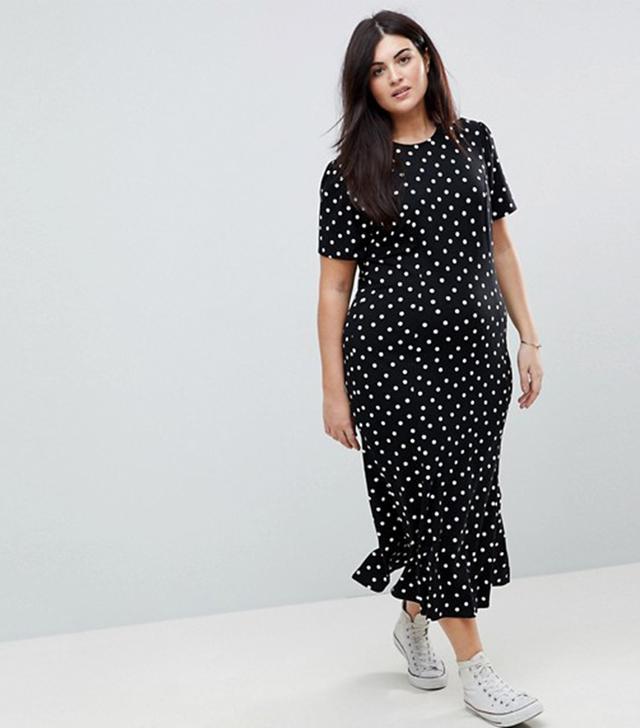 ASOS CURVE City Maxi Tea Dress In Polka Dot Print