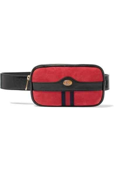 Ophidia Patent Leather-Trimmed Suede Belt Bag