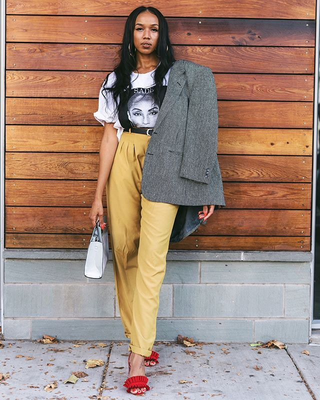 Swap out your classic black trousers for a yellow pair.