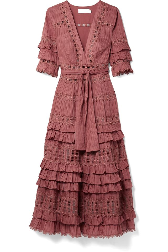 Zimmermann Corsair Tiered Broderie Anglaise Cotton Midi Dress