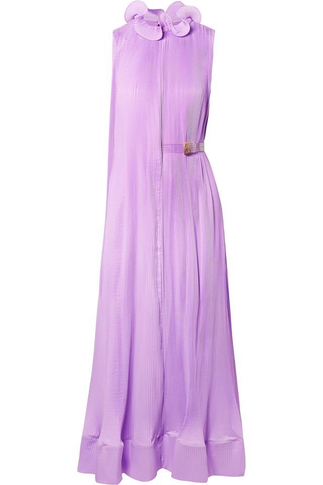 Ruffled Plissé-Satin Midi Dress