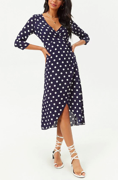 Forever 21 Chiffon Polka Dot High-Low Dress