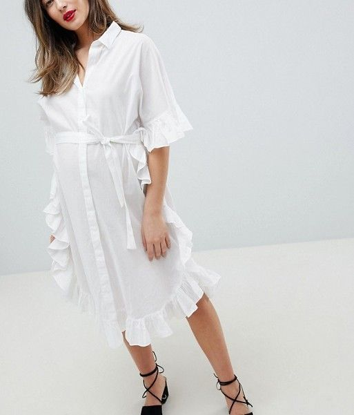 Mamalicious Longline Frill Shirt Dress