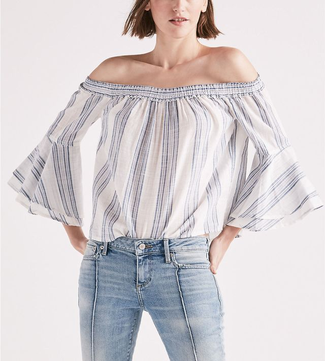 Lucky Brand Off Shoulder Stripe Top