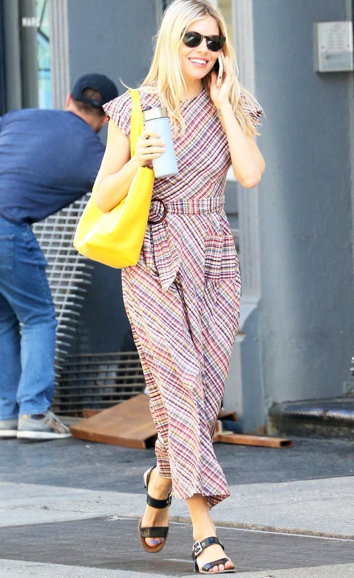 Sienna Miller check belted midi dress: